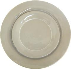 VIT porcelain dinner plate, salad plate, in taupe with white stripe detail