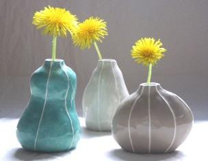 VIT ceramic, bud vase collection, modern pottery, contemporary cool colors, kri kri studio