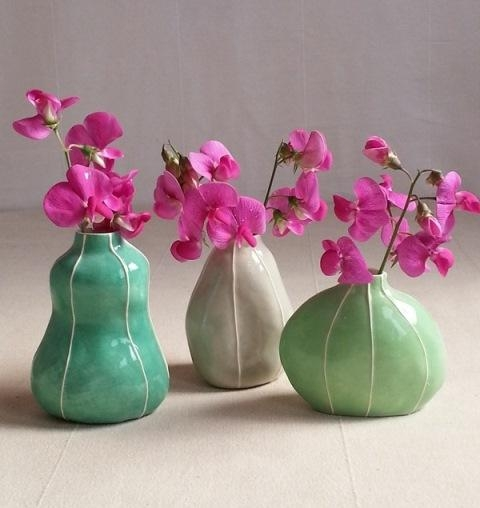 3 bud vases: organic forms in tropical colors