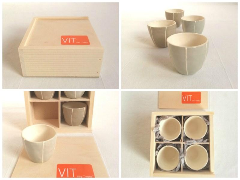set of 4 tiny sake cups in wood gift box