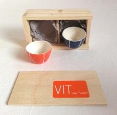 set of 2 salt dishes in wooden gift box