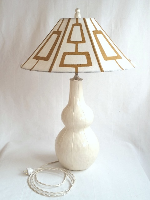 Double ball finial, white on Tall Gourd lamp