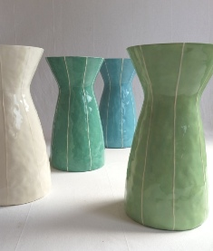 Eve vase, wedding gift, blue, green, white, kri kri studio